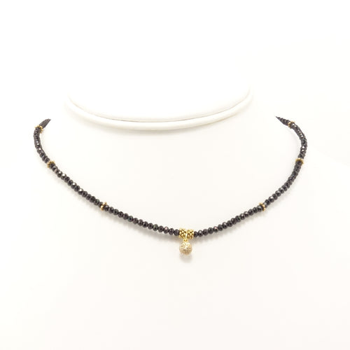 Hematite Gold Circle Black Diamond Choker