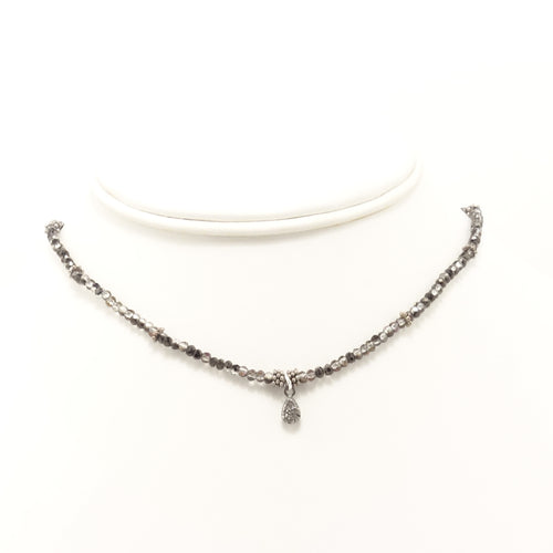 Hematite/Clear Tear Drop Black Diamond Choker