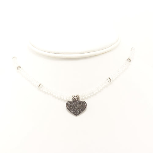 Clear Heart Black Diamond Choker
