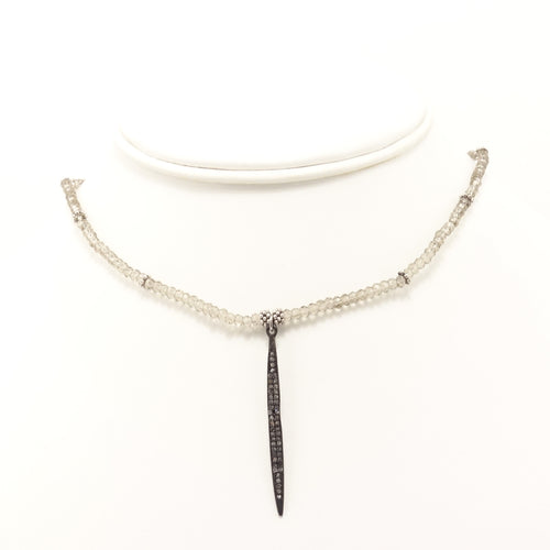 Clear Grey Stick Black Diamond Choker