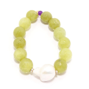 Lime Pearl Beaded Bracelet Bundle