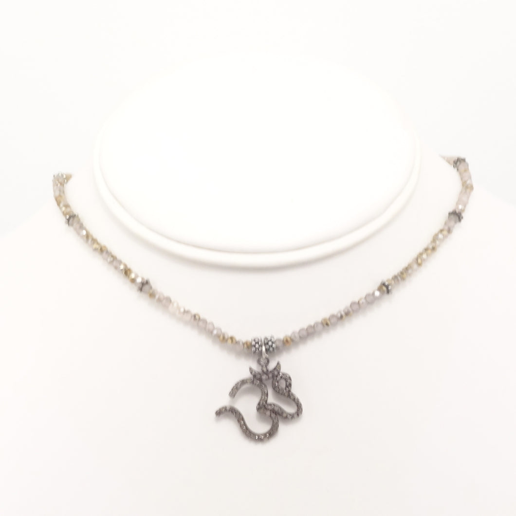 Grey/Silver Om Black Diamond Choker