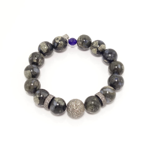 Black Marbled Agate Black Diamond Bracelet