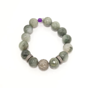 Green Agate Black Diamond Bracelet
