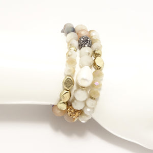 Cream Pearl Beaded Bracelet Bundle