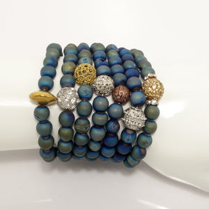 Druzy Metallic Green/Blue Beaded Bracelets