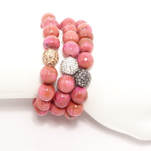 Rosy Pink Beaded Bracelet Set