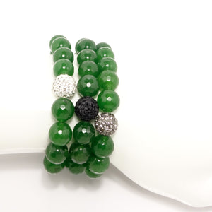 Eagles Green Beaded Bracelet Set