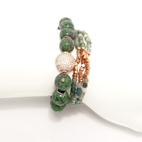 Green/Rose-Gold Beaded Bracelet Set