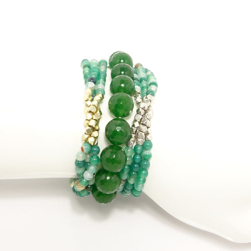 Green Multi Cluster Armparty Bracelet Set