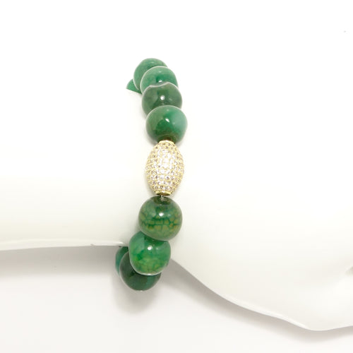 Green Gold Pave Ball Beaded Bracelet