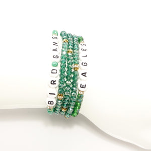 Eagles, Bird Gang & Green Triple Wrap Bracelet