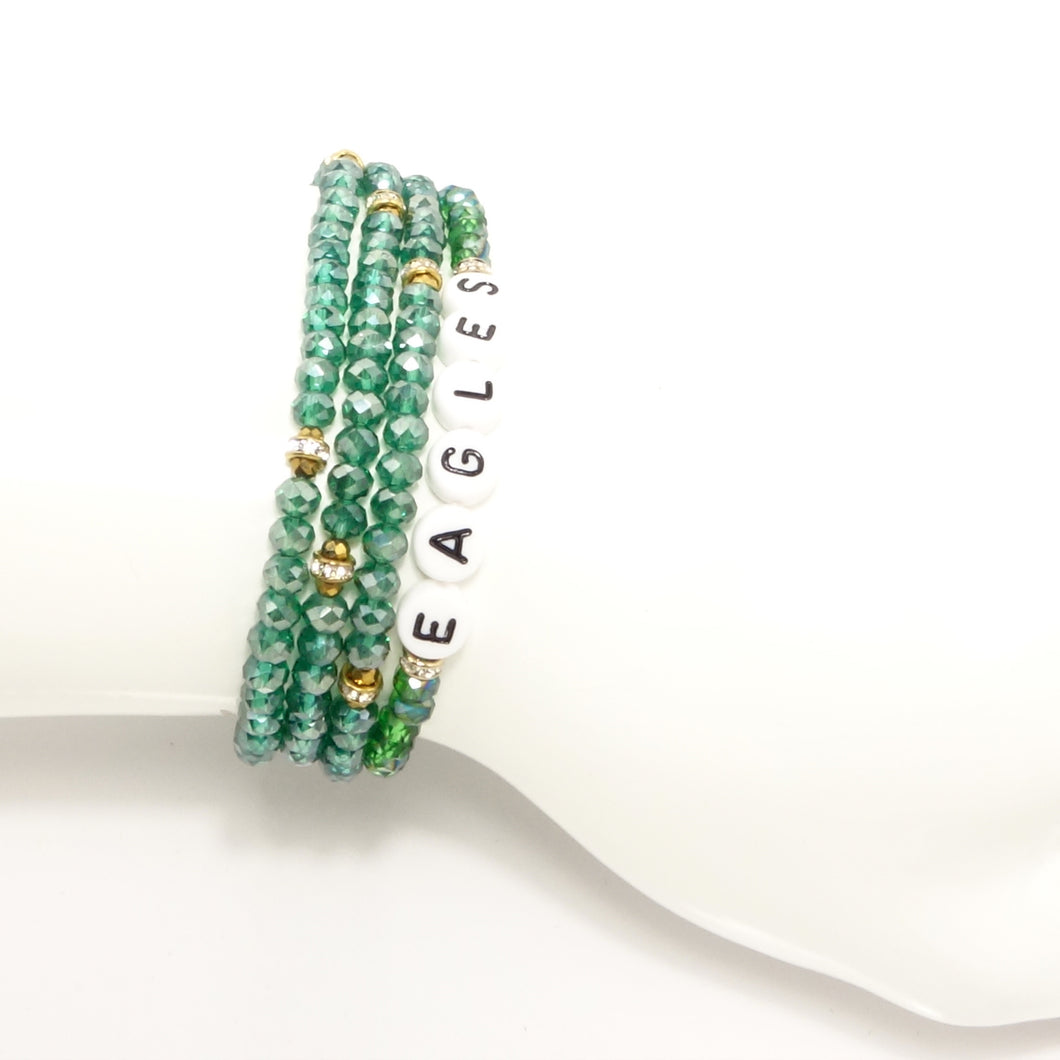 Eagles & Green Triple Wrap Bracelet