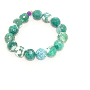 Green/White Beaded Bracelet Set
