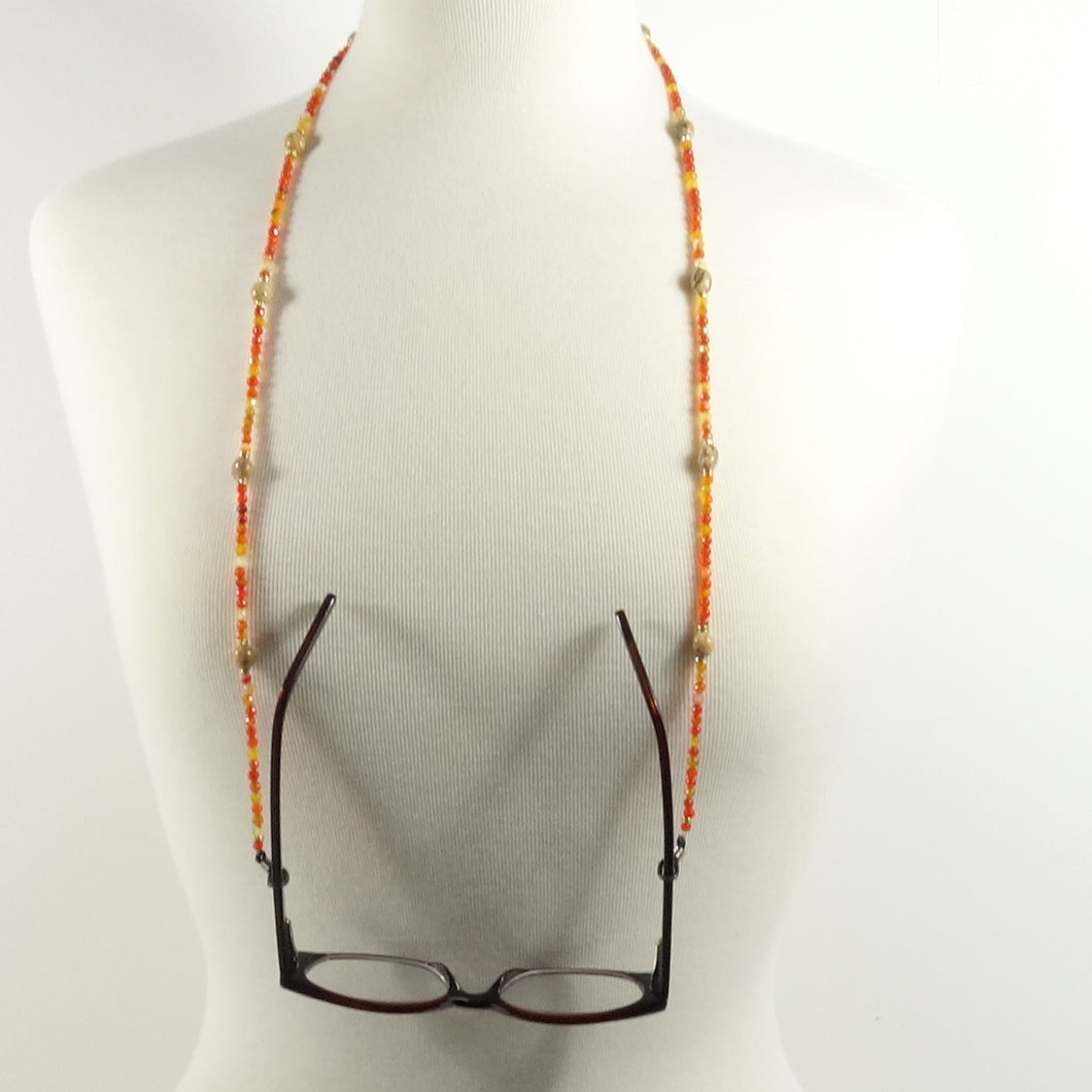 Fire Red Eyeglass Beaded Cord