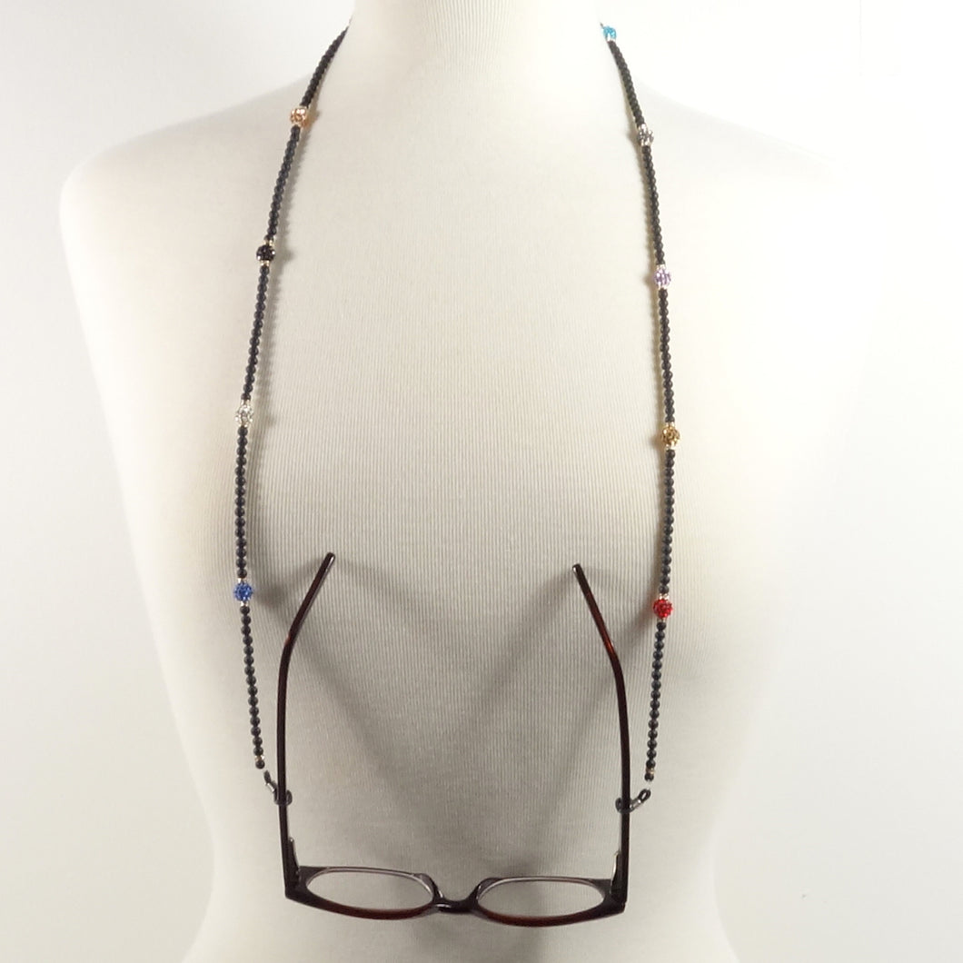 Black Colorful Rhinestone Eyeglass Cord