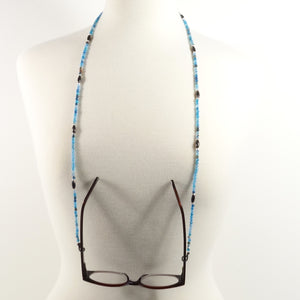 Blue Black Gemstone Eyeglass Beaded Cord