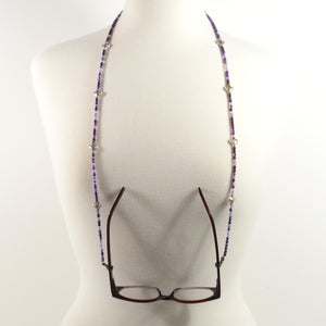 Purple Silver Heart Eyeglass Beaded Cord