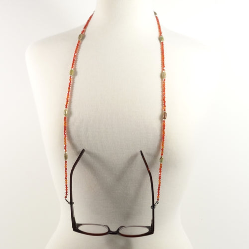 Red Gemstone Eyeglass Beaded Cord
