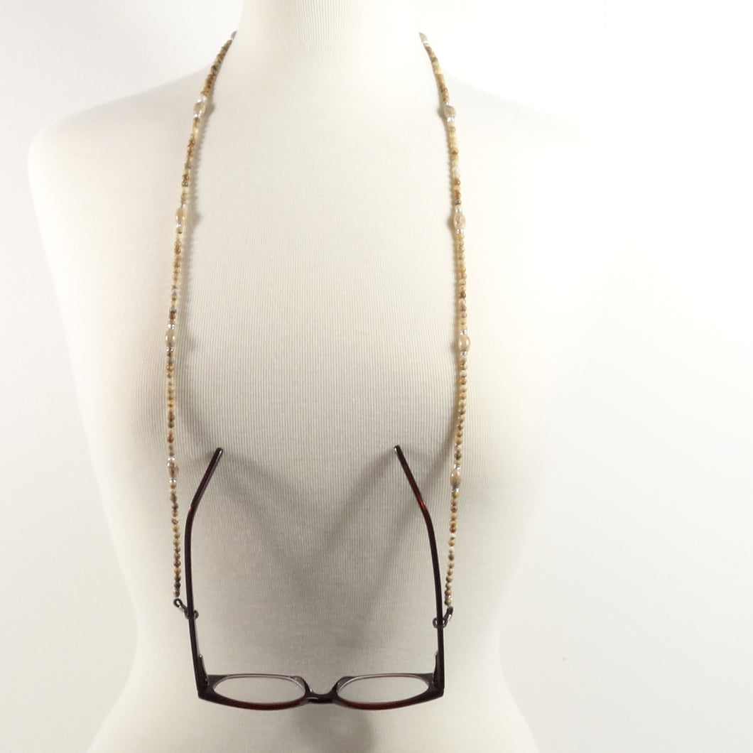 Natural Jasper Eyeglass Beaded Cord
