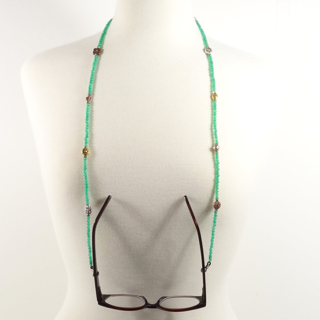 Green Metal Eyeglass Beaded Cord