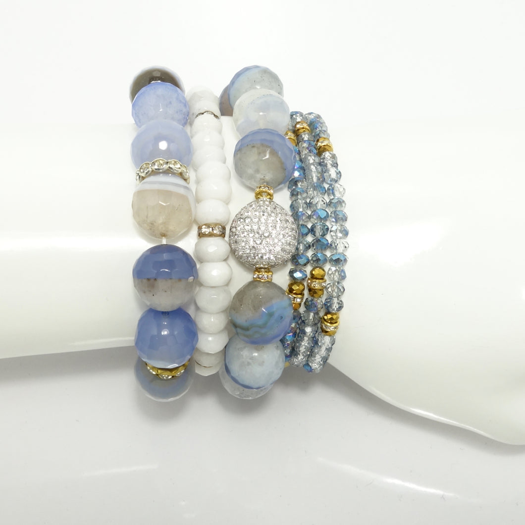 Light Blue Beaded Bracelet Set