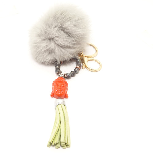 Orange Buddha Pom-Pom Keychain