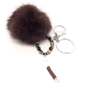 Brown Arrow Pom-Pom Keychain