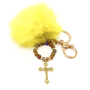 Gold Metal Cross Pom-Pom Keychain
