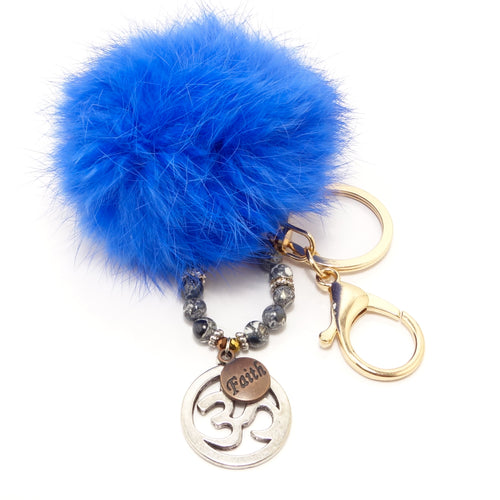 Ohm Royal Blue Pom-Pom Keychain