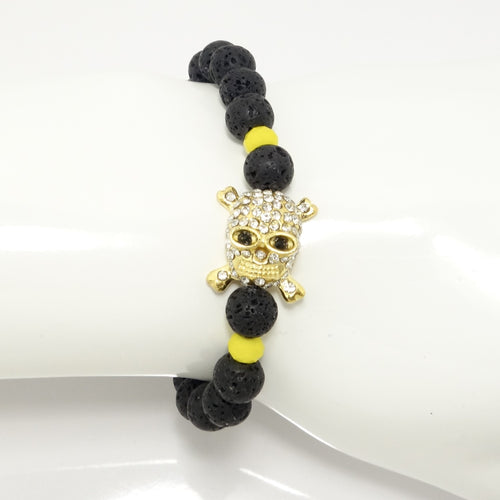 Black Lava/Gold Cross Rhinestone Skull