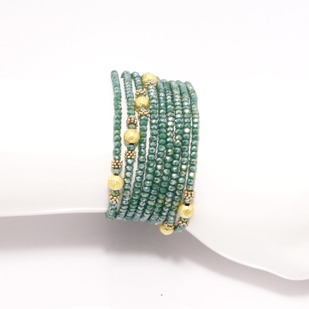 Green/Gold Wrap Bracelet/Necklace