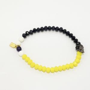 Half Black and Yellow/Black Rhinestone Skull