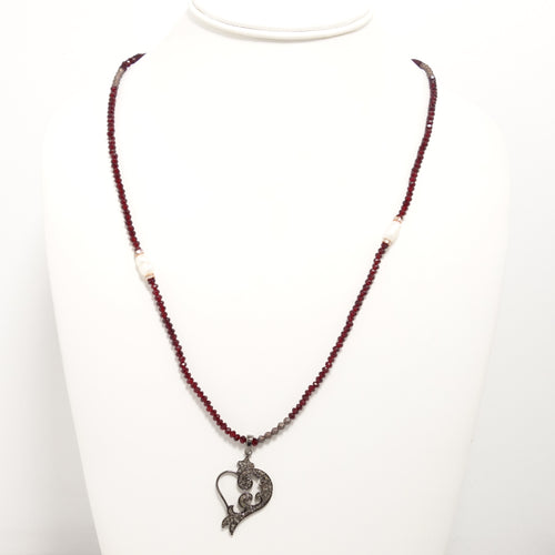 Heart Black Diamond Long Necklace