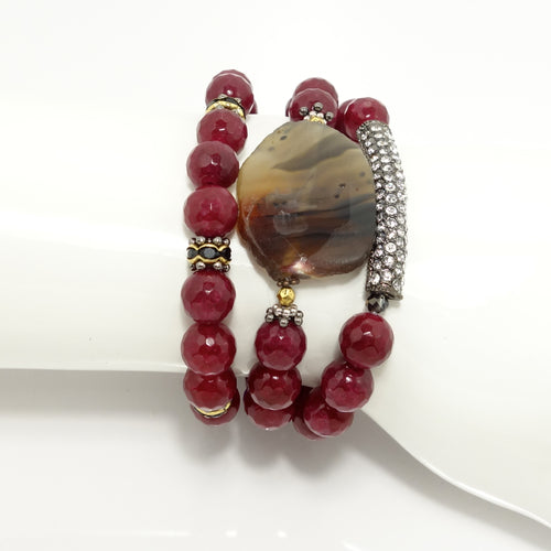 Maroon Beaded Bracelet Set