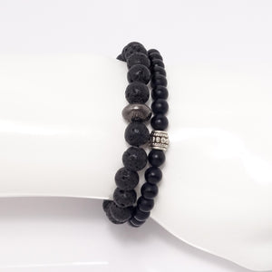 Men's Black Bracelet Set