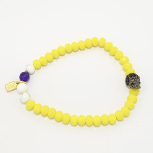 Yellow Rondelle/Mini Rhinestone Skull