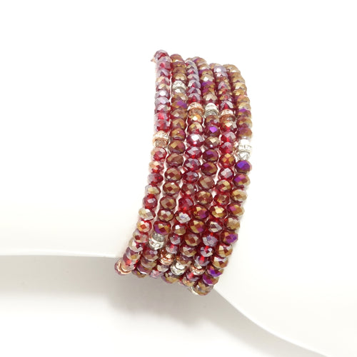 Red Lover Crystal Triple Wrap Bracelet