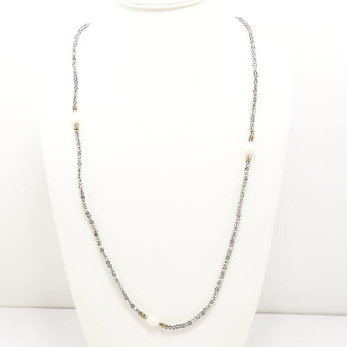 Bright Silver/Clear Pearl Necklace