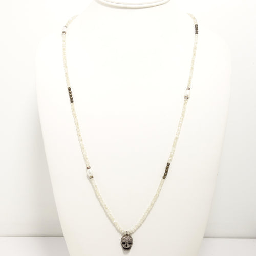 Cream Skull Black Diamond Necklace
