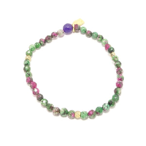 Green/Pink Gold Beaded Bracelet