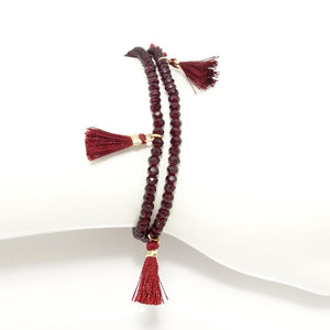 Red Tassel Double Wrap Bracelet