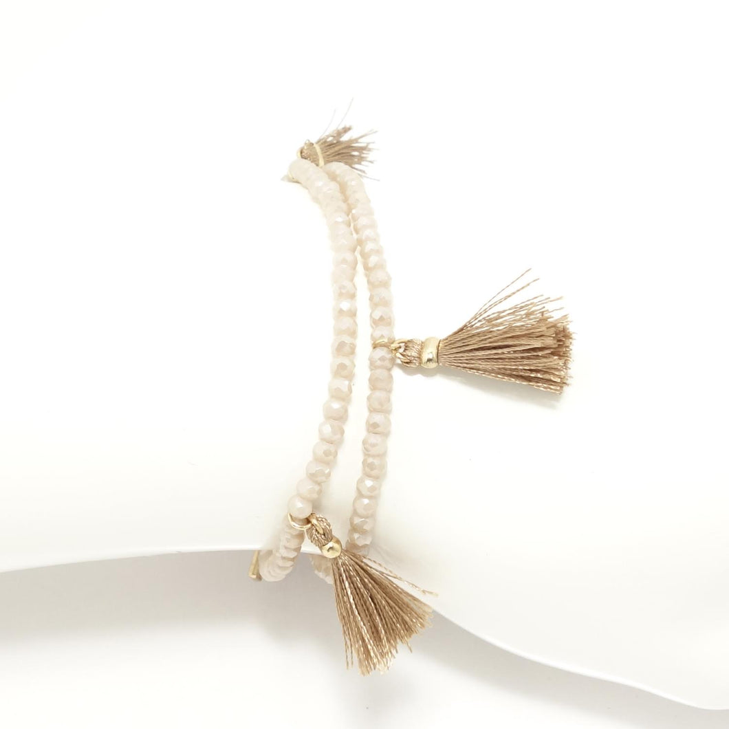 Cream Tassel Double Wrap Bracelet