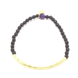Black Matte Gold Bracelet Beaded Set