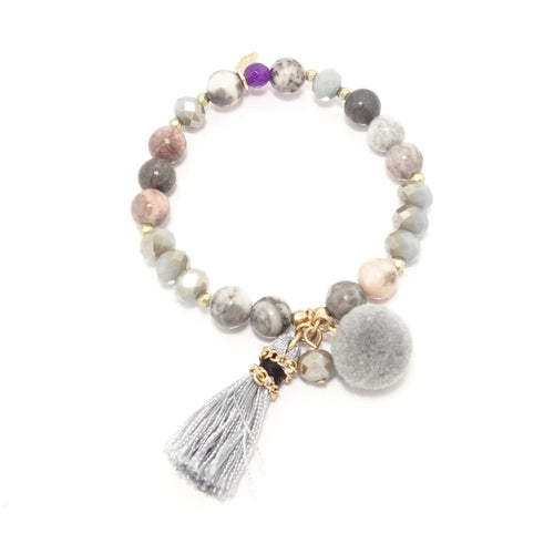 Grey Tassel/Pompom Beaded Bracelet