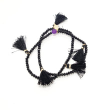 Black Tassel Double Wrap Bracelet