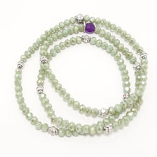 Palegreen/Silver Crystal Triple Wrap Braclet