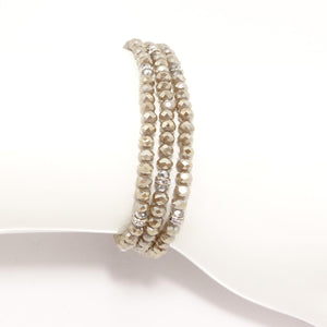 Cream/Silver Crystal Triple Wrap Bracelet