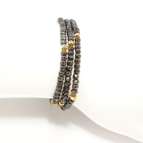Chocolate/Gold Crystal Triple Wrap Bracelet