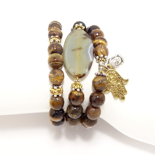 Tiger Eye Hamsa/Buddha Beaded Bracelet Set